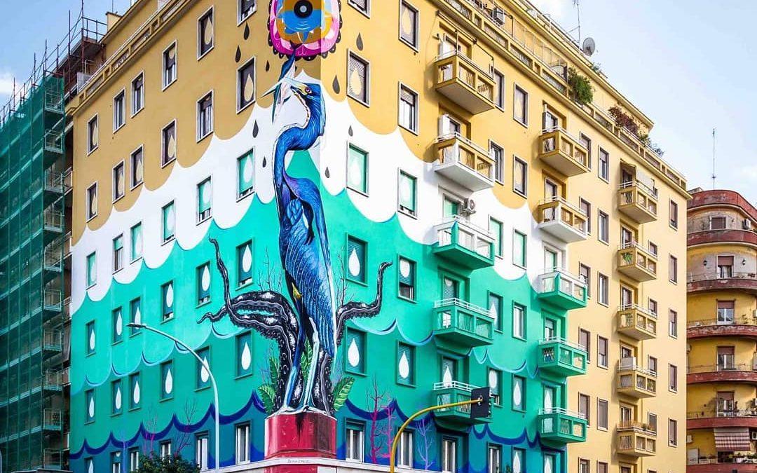 Realizzato a Roma l'eco-murale più grande d'Europa: mangia lo smog come un bosco di 30 alberi